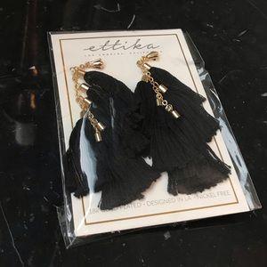 🆕 Ettika — 18k Gold Plated Black Tassel Earrings